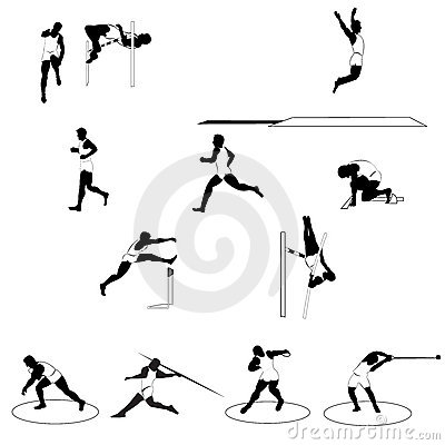 Set of athletic silhouettes track and field
