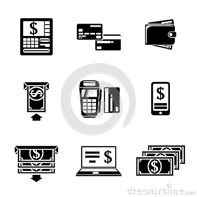 Set of ATM monochrome icons with - ATM, cards Vector Illustration