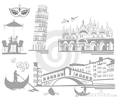 Set of attractions in Italy