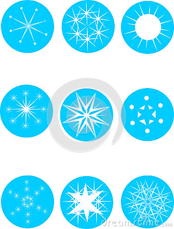 Set of attractive snowflakes