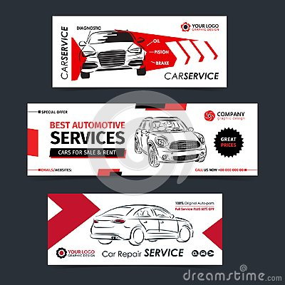 Set of auto repair service banner, poster, flyer. Car service business layout templates. Vector Illustration