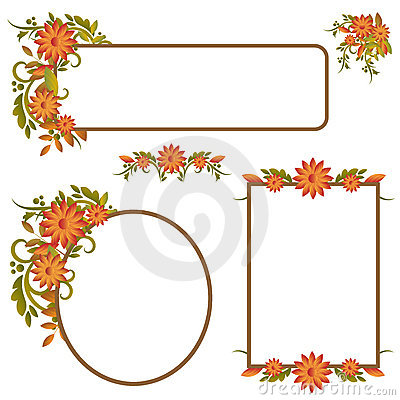 Set of autumn frames or banners