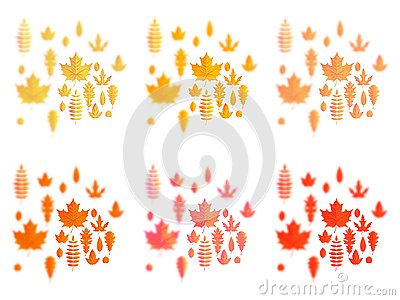 Set of autumn leaves or fall foliage icons. Maple, oak or birch and rowan tree leaf. Falling poplar, beech or elm and Vector Illustration