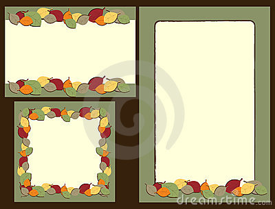 Set of autumn leaves frames