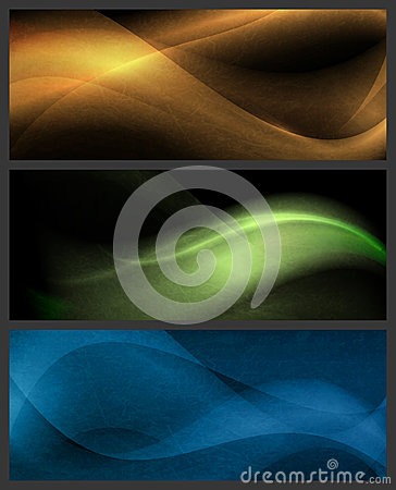 Set av abstrakt wavemodeller på mörk bakgrund