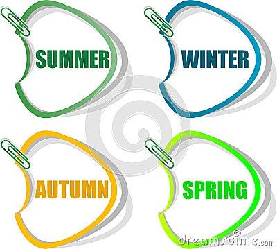 Set av etiketter för säsongsbetonad samling