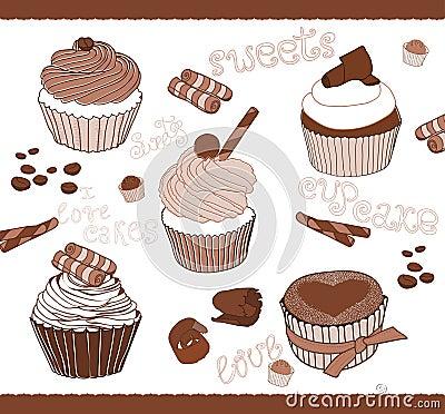 Set av gulliga muffiner för design