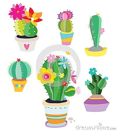 Set av kaktusväxter