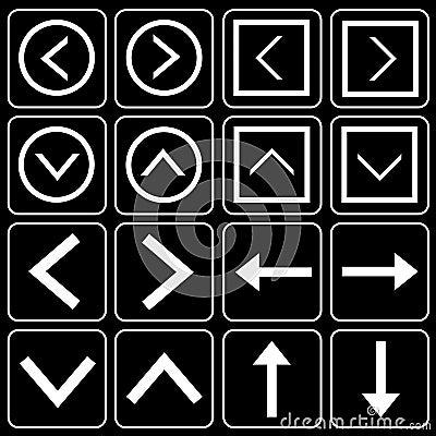 Set av symboler (citationstecken, pilar)