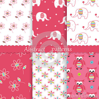 Set of baby cute seamless patterns Vector Illustration