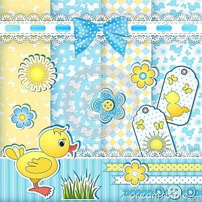 Free Set Baby Patterns. Stock Photos - 29598323