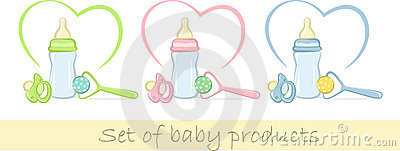 Set of baby products in gentle colors