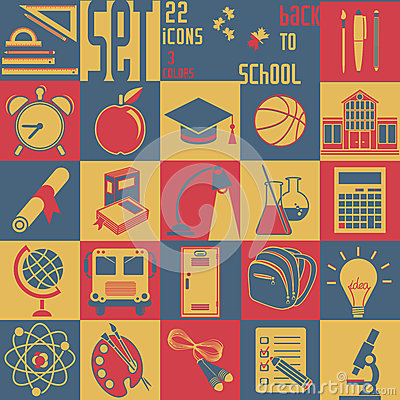 Free Set Back To School, 22 Flat Icons (Education Symbo Royalty Free Stock Photos - 42858518