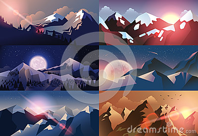 Set background mountain landscape in flat style Vector Illustration