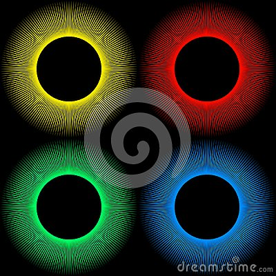 Set of backgrounds in the form of colored balls with rays isolated on a black Vector Illustration