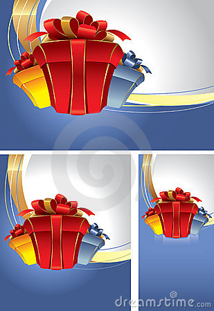 Set of backgrounds with gift boxes