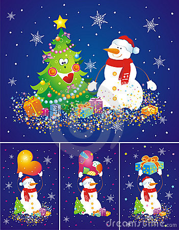 Set of backgrounds with snowmen.