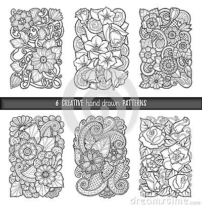 Set of backgrounds in vector with doodles, flowers and paisley. For wallpaper, pattern fills, coloring books. Black and white. Vector Illustration