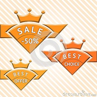 Set of badges: sale, best choice, best offer