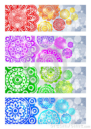 A set of banners with abstract flowers
