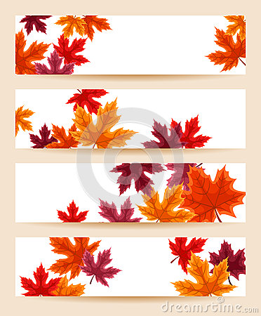Set of  banners with autumn maple leaves.