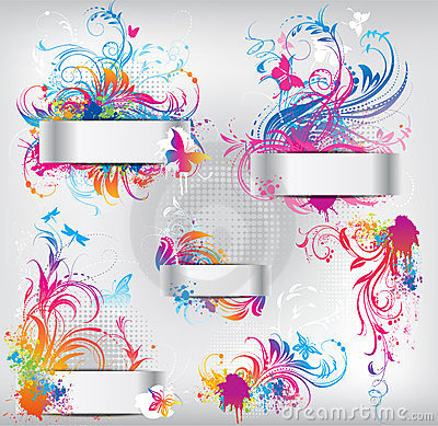 Set Of Banners With Floral Ornament Royalty Free Stock Photo - Image: 23965445