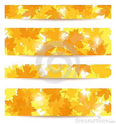 Set of  banners with maple leaves.