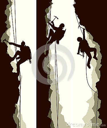 Free Set Banners Of Alpinists. Stock Image - 40397701