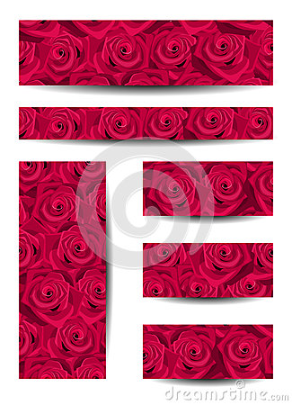 Set of banners with red roses.