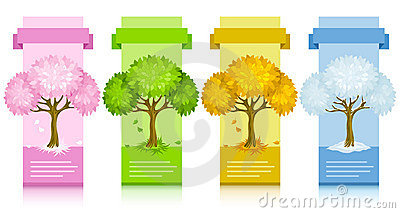 Set of banners with tree from different seasons