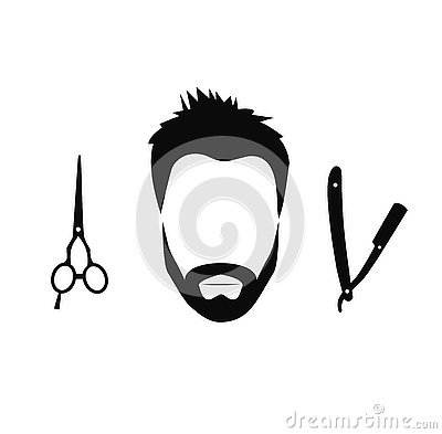 Set of Barber tools for men Vector Illustration