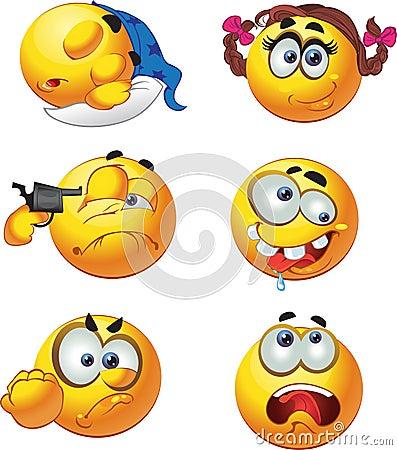 set of barch emotion smiles selfkiller slee