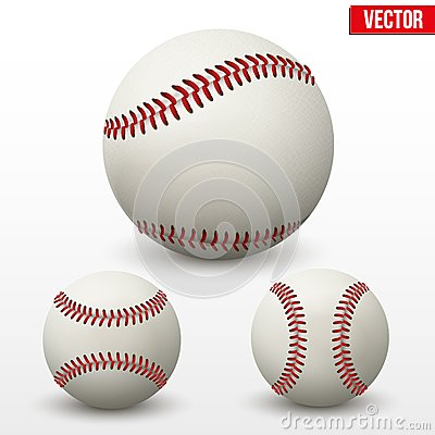 Set of baseball leather ball. Various sides. Vecto