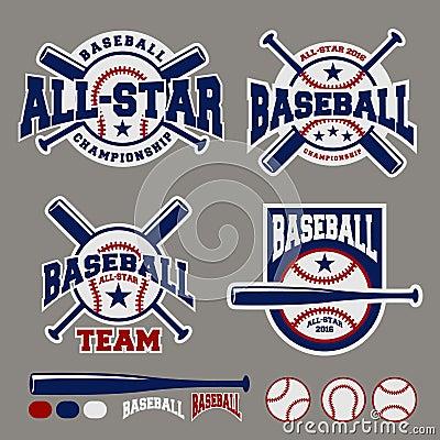 Set of baseball sport badge logo design template Vector Illustration