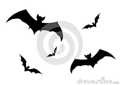 Set of bats silhouette,