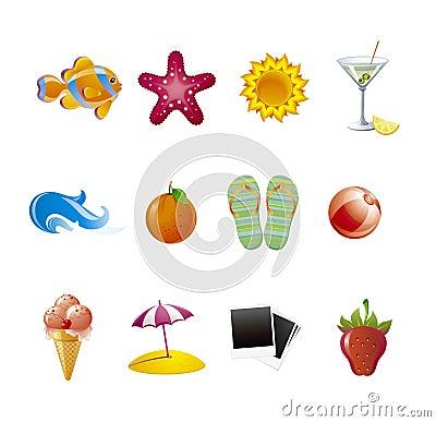 Set  beach icons