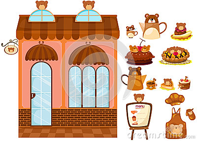 Set of bear cafe