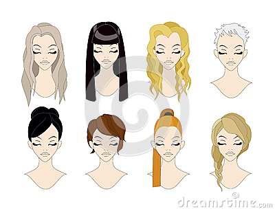 Set of beatyful hairstyles