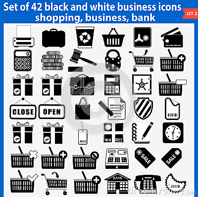 Set of beautiful black and white business icons