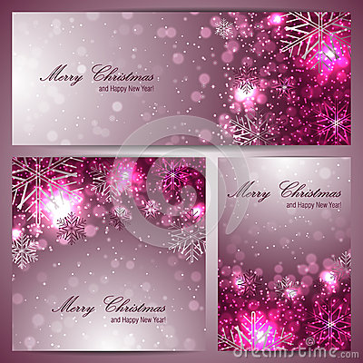 Set of beautiful christmas banners with snowflakes