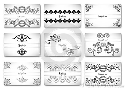 Set beautiful gift ornamental card. Vector