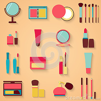 Set of beauty and cosmetics icons. Makeup vector illustration