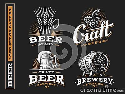 Set beer logo - vector illustration, emblem brewery design Vector Illustration