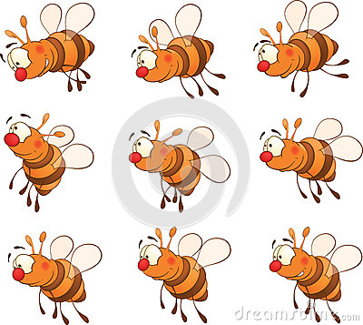 Set of bees cartoon