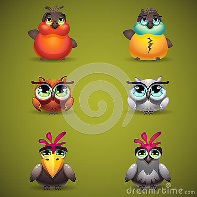 Free Set Birds Gather To Play Three In A Row Magic Forest Stock Photo - 49387750