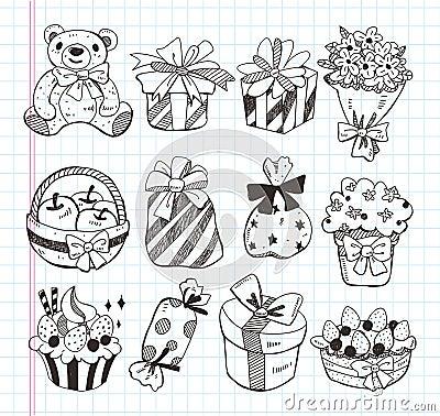 Set of birthday gift icons