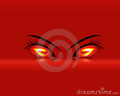 Fiery eyes on red background