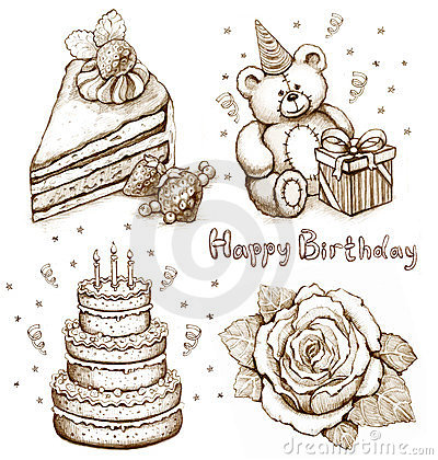 Set of birthday illustrations