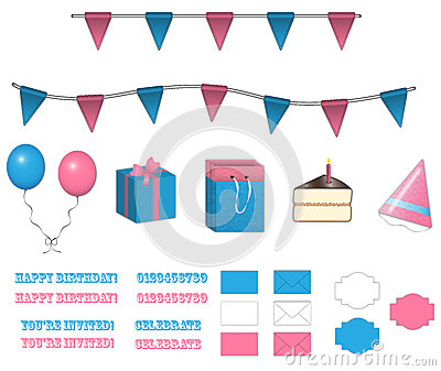 Set of Birthday Items
