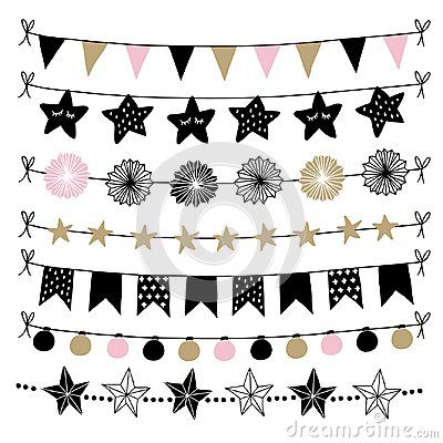 Set of birthday, New Year decorative borders, strings, garlands, brushes. Party decoration with Christmas balls, baubles Vector Illustration